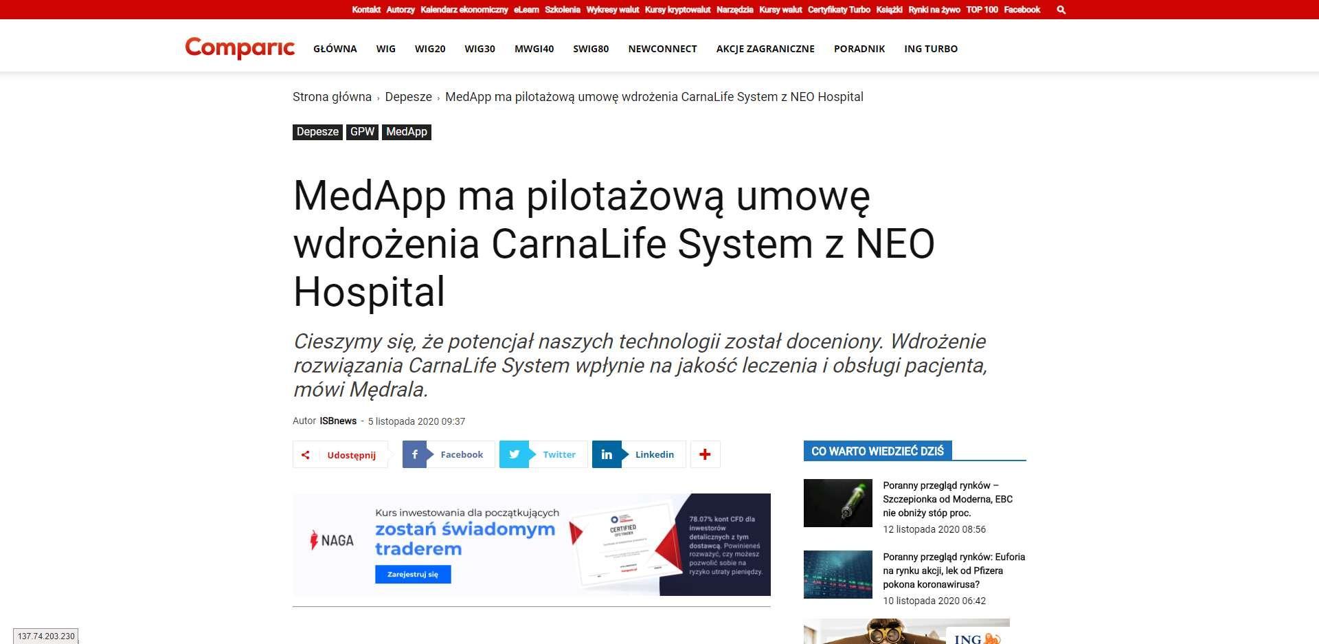medapp ma pilotazowa umowe wdrozenia carnalife system z neo hospital