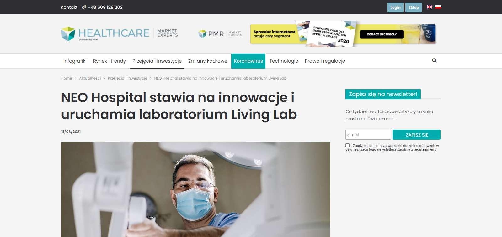 neo hospital stawia na innowacje i uruchamia laboratorium living lab