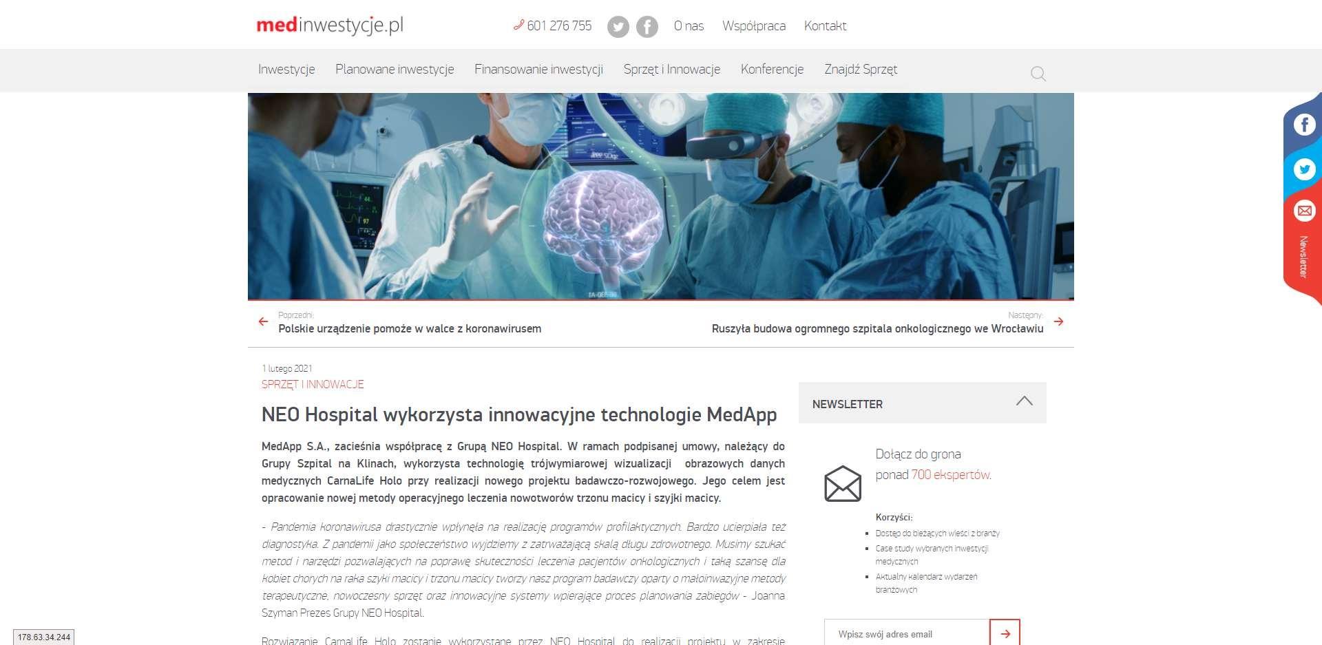 neo hospital wykorzysta innowacyjne technologie medapp