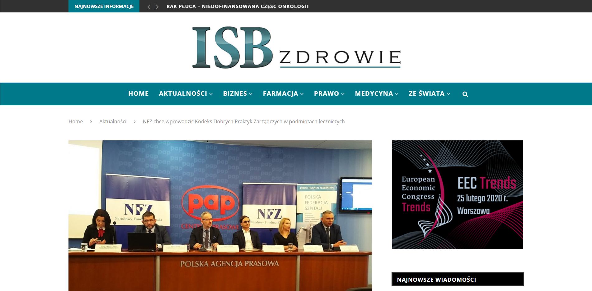 NFZ chce wprowadzić Kodeks Dobrych Praktyk Zarządczych w podmiotach leczniczych