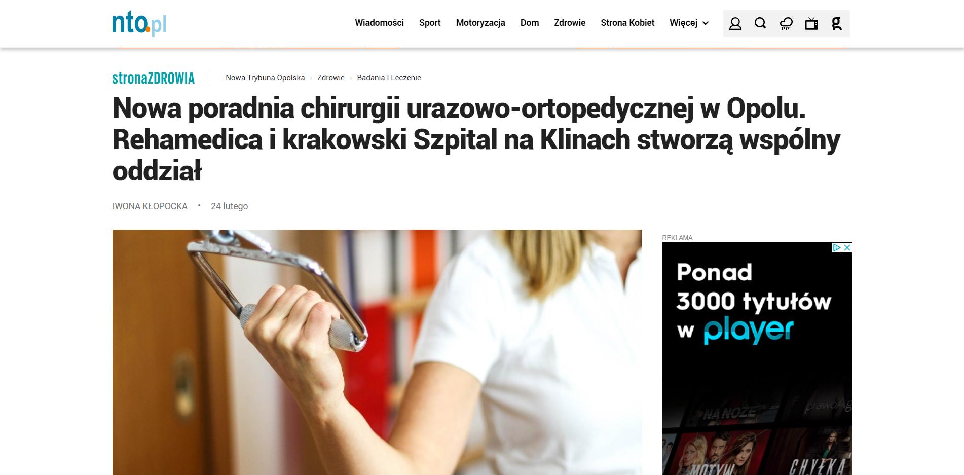 Nowa poradnia chirurgii urazowo-ortopedycznej w Opolu. Rehamedica i krakowski Szpital na Klinach stworzą wspólny oddział
