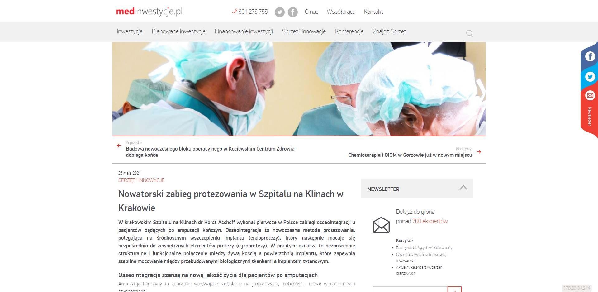 nowatorski zabieg protezowania w szpitalu na klinach w krakowie