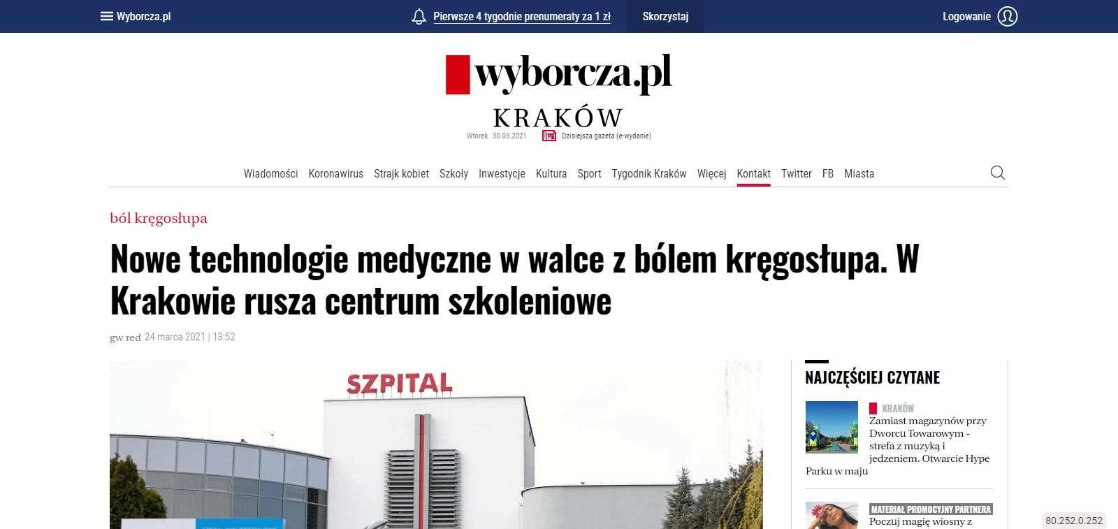 nowe technologie medyczne w walce z bolem kregoslupa w krakowie rusza centrum szkoleniowe