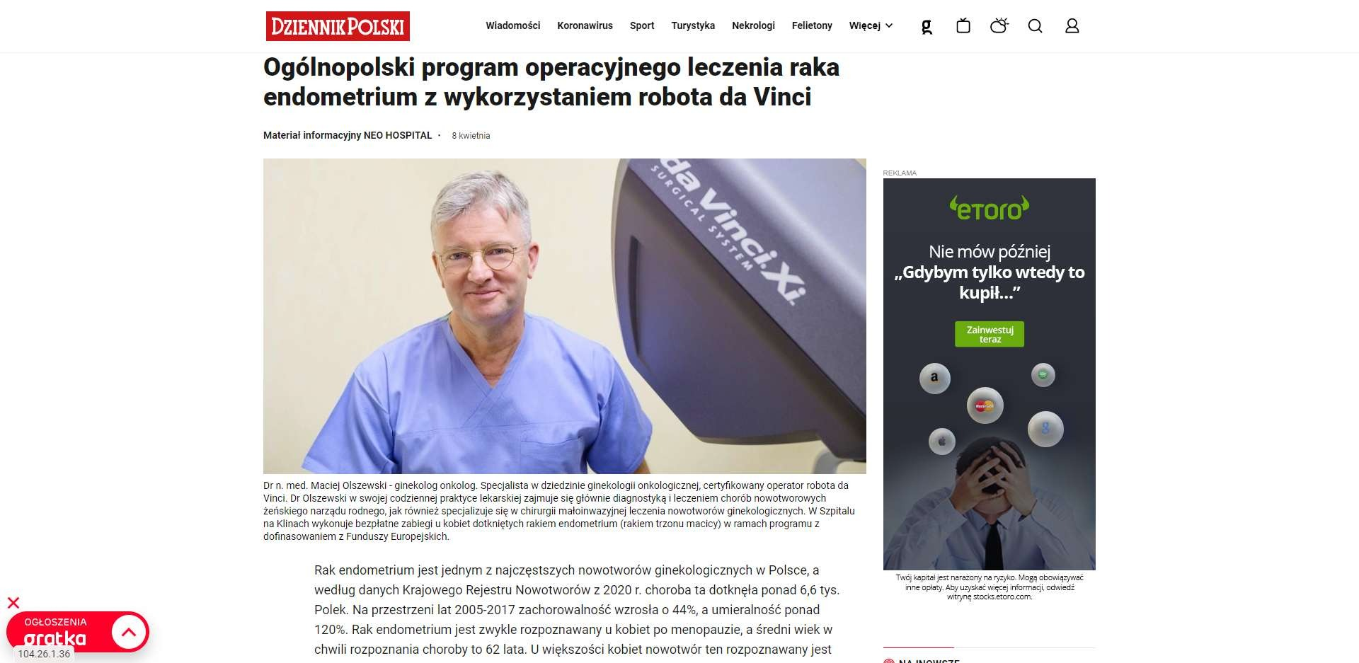 ogolnopolski program operacyjnego leczenia raka endometrium z wykorzystaniem robota da vinci