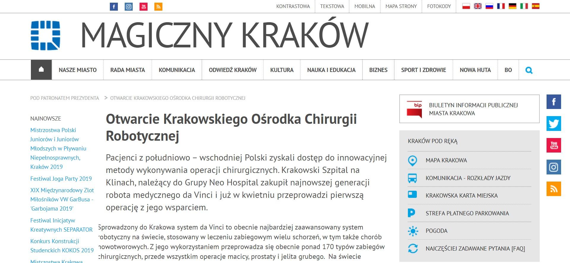 Otwarcie Krakowskiego Ośrodka Chirurgii Robotycznej