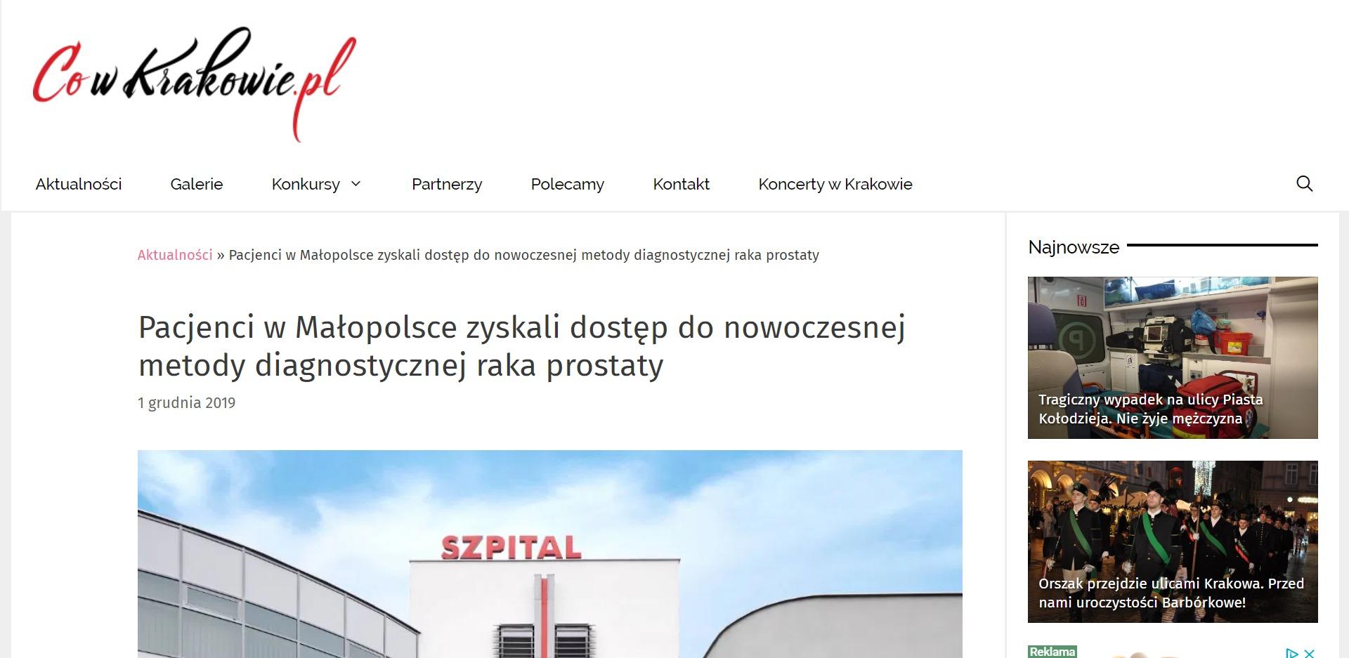 Pacjenci w Małopolsce zyskali dostęp do nowoczesnej metody diagnostycznej raka prostaty. Szpital na Klinach w Krakowie jako pierwsza placówka medyczna w Małopolsce udostępnił w swojej ofercie medycznej najnowocześniejszy system do biopsji fuzyjnej prostaty – Koelis Trinity.