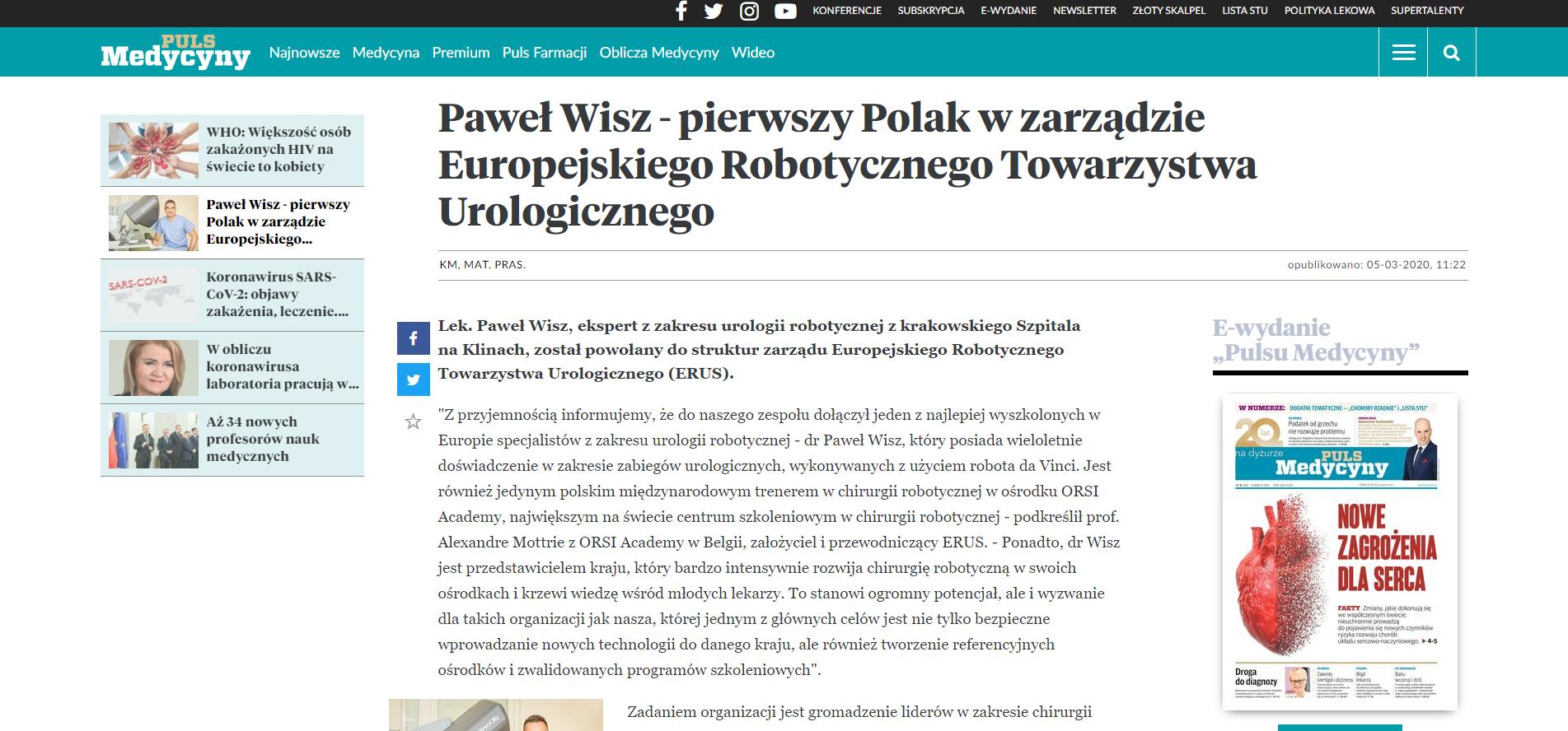 Paweł Wisz - pierwszy Polak wzarządzie Europejskiego Robotycznego Towarzystwa Urologicznego