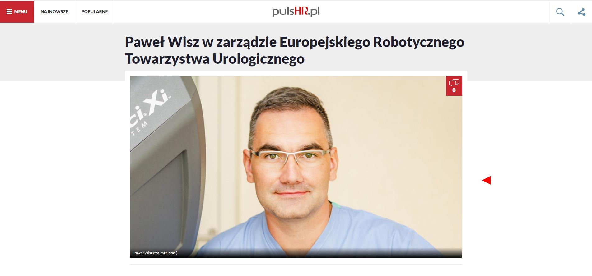 Paweł Wisz w zarządzie Europejskiego Robotycznego Towarzystwa Urologicznego 0