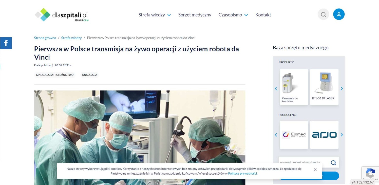 pierwsza w polsce transmisja na zywo operacji z uzyciem robota da vinci