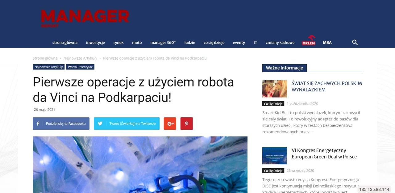 pierwsze operacje z uzyciem robota da vinci na podkarpaciu