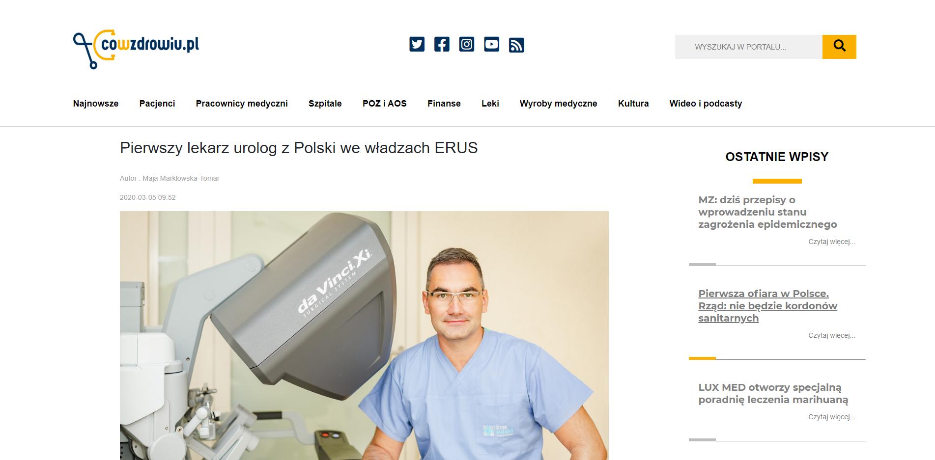 Pierwszy lekarz urolog z Polski we władzach ERUS
