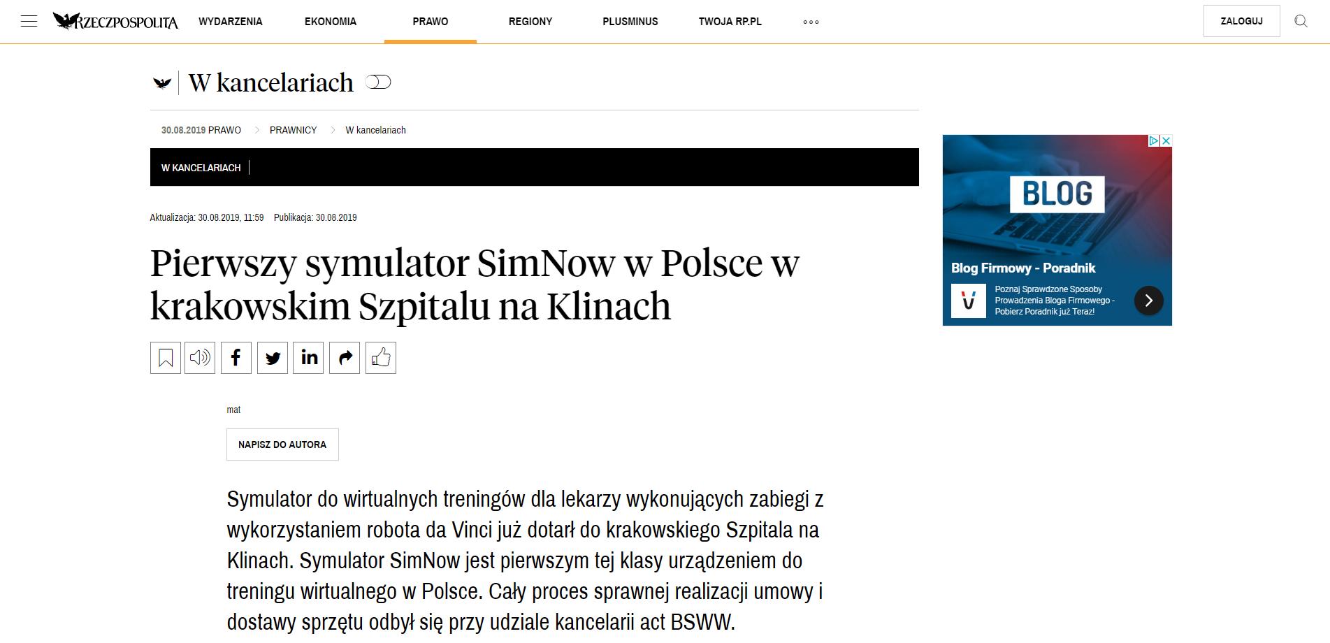 Pierwszy symulator SimNow w Polsce w krakowskim Szpitalu na Klinach