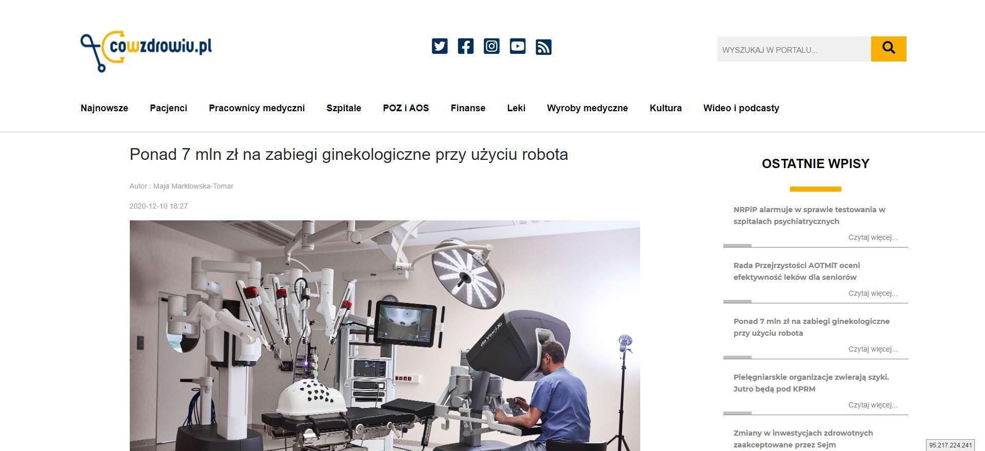 ponad mln zl na zabiegi ginekologiczne przy uzyciu robota