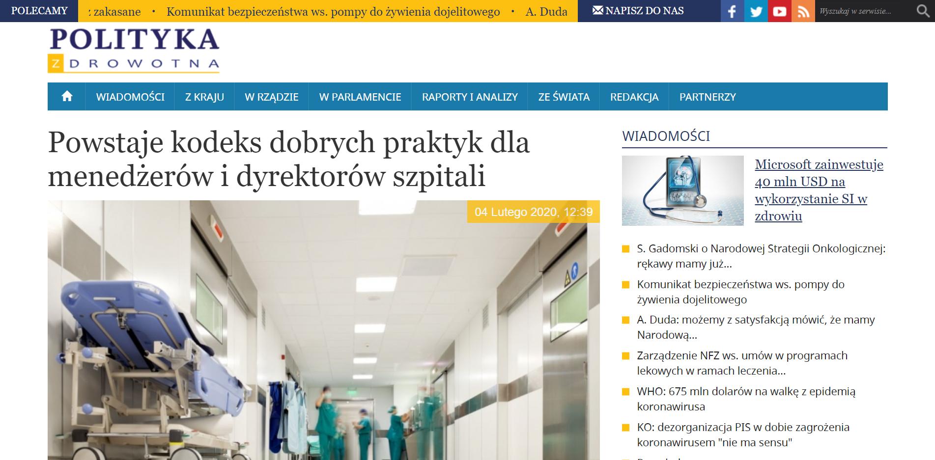 Powstaje kodeks dobrych praktyk dla menedżerów i dyrektorów szpitali