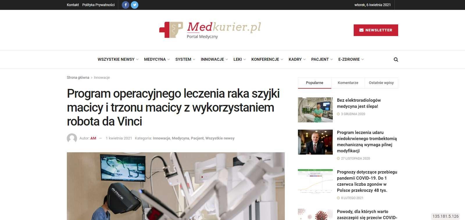 program operacyjnego leczenia raka szyjki macicy i trzonu macicy z wykorzystaniem robota da vinci