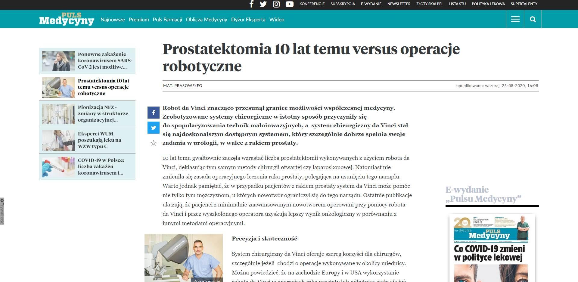prostatektomia lat temu versus operacje robotyczne