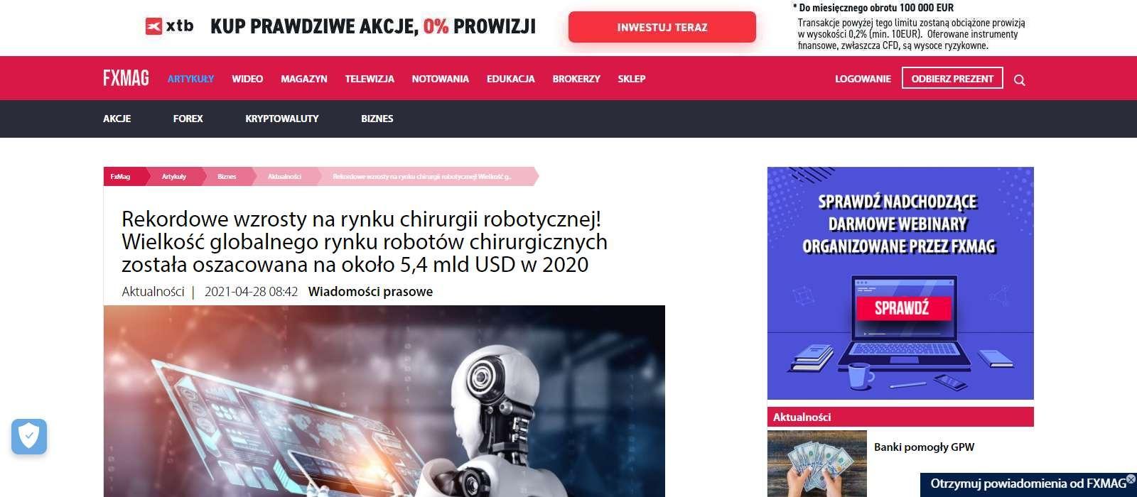 rekordowe wzrosty na rynku chirurgii robotycznej wielkosc globalnego rynku robotow chirurgicznych zostala oszacowana na okolo mld usd w