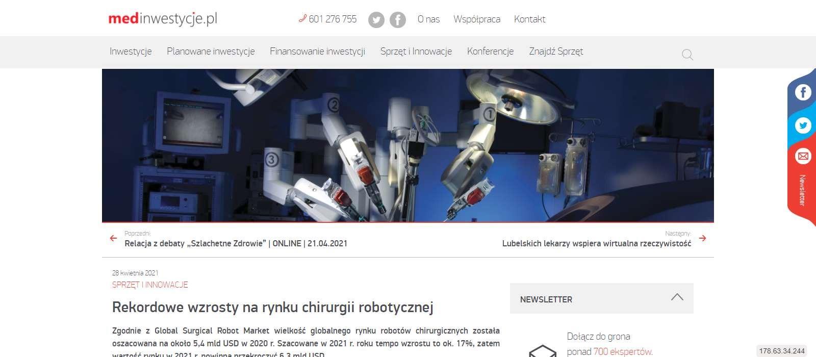 rekordowe wzrosty na rynku chirurgii robotycznej