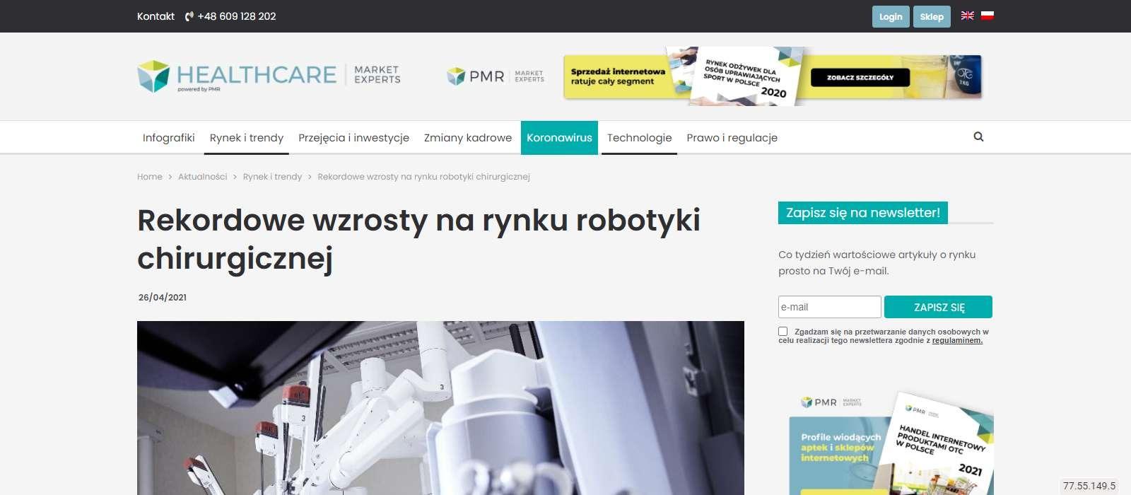rekordowe wzrosty na rynku robotyki chirurgicznej