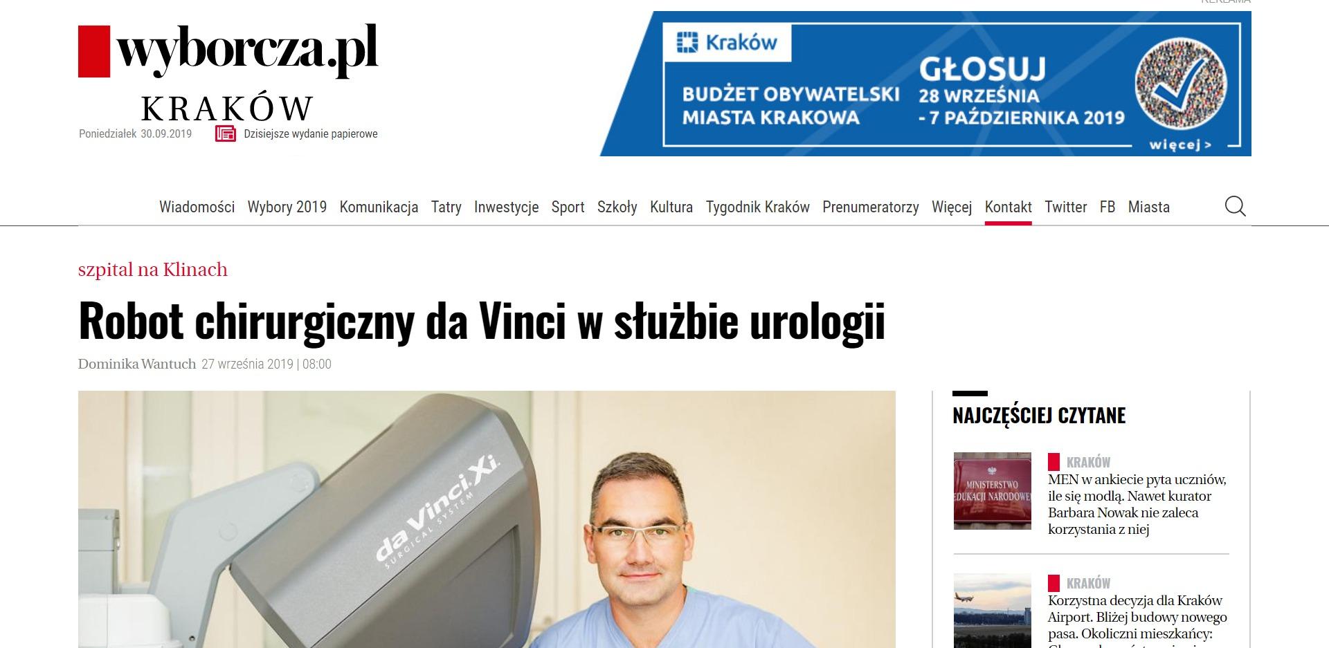 Robot chirurgiczny da Vinci w służbie urologii