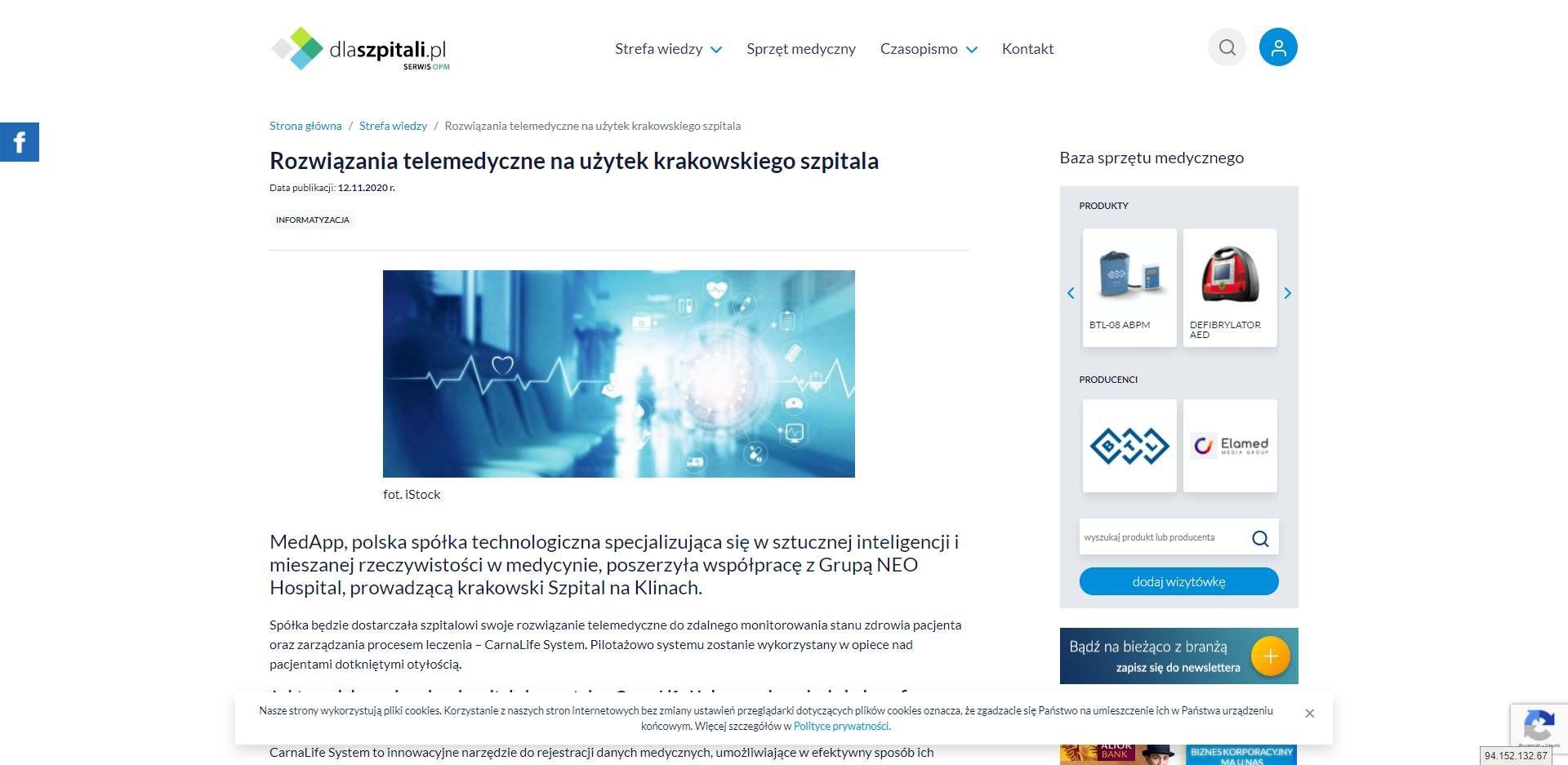 rozwiazania telemedyczne na uzytek krakowskiego szpitala