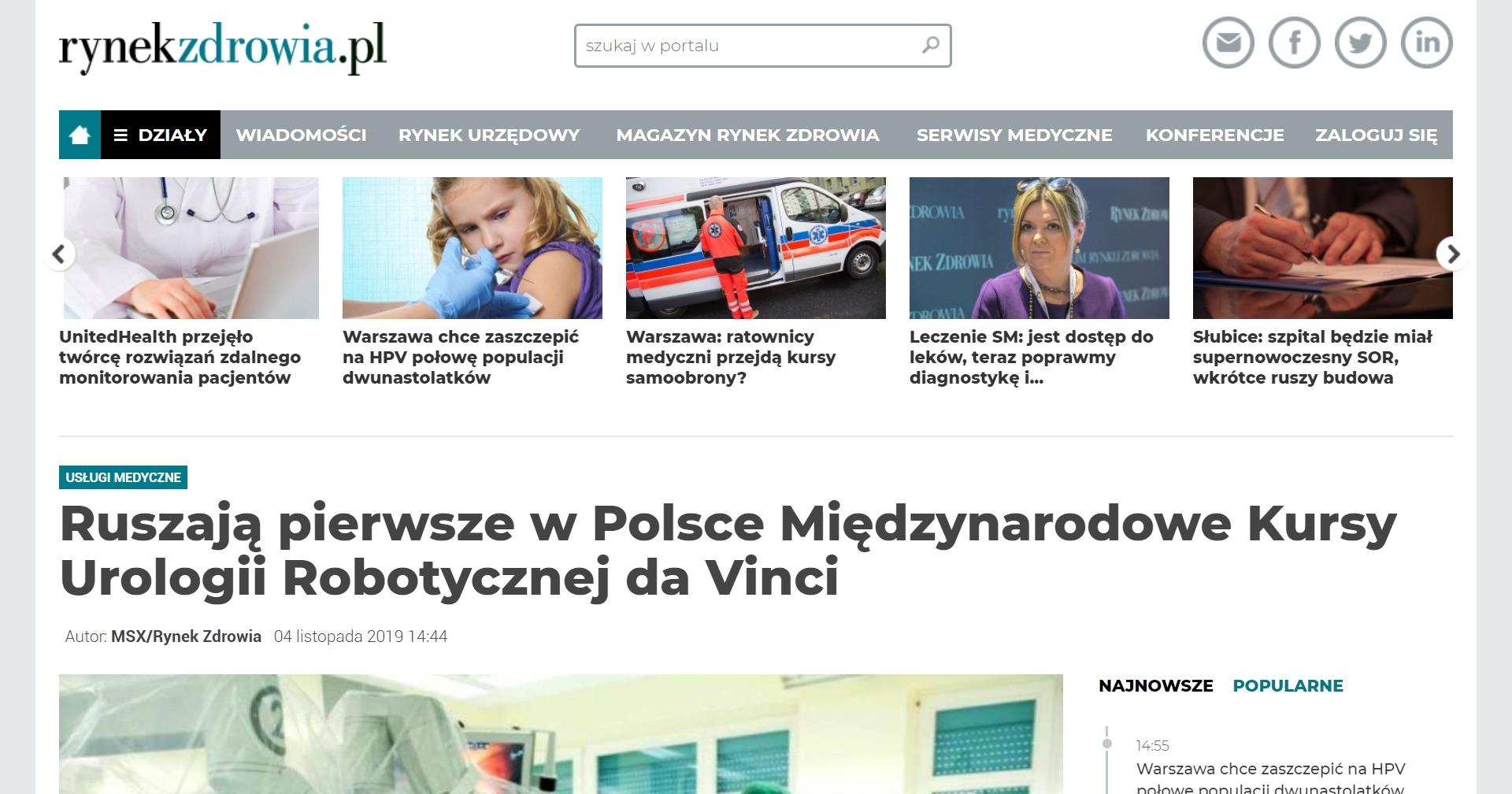Ruszają pierwsze w Polsce Międzynarodowe Kursy Urologii Robotycznej da Vinci