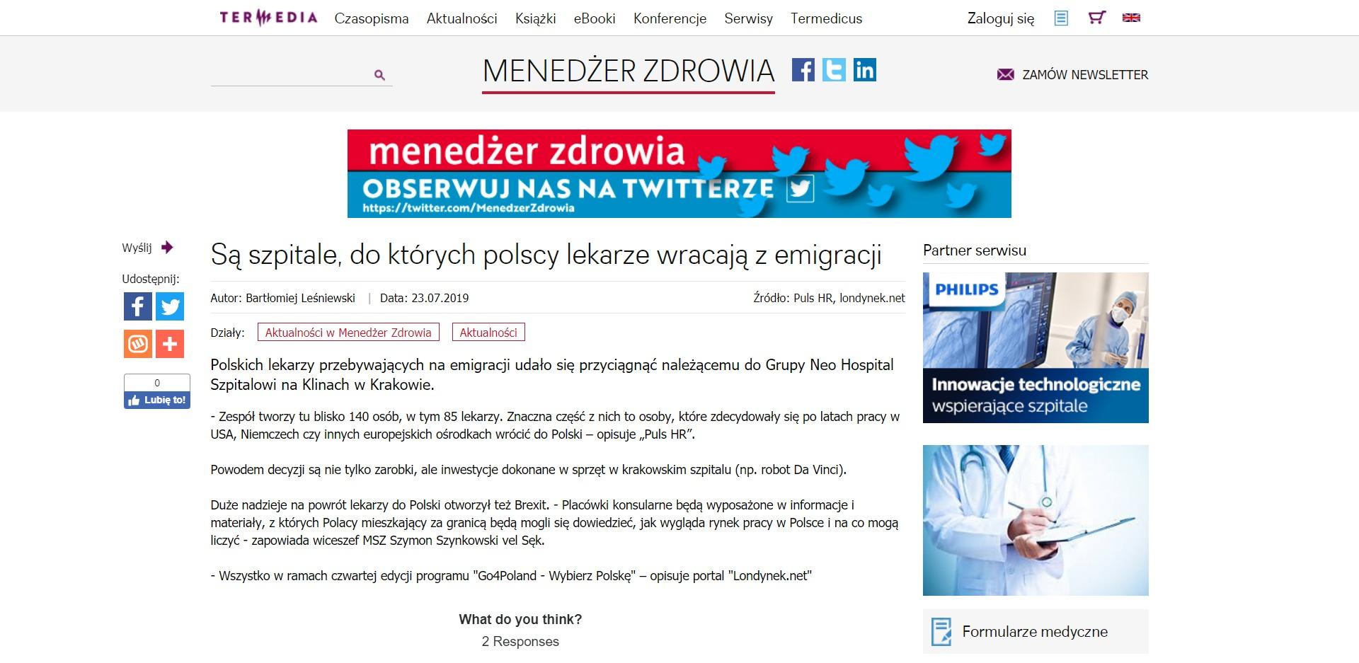 Są szpitale, do których polscy lekarze wracają z emigracji