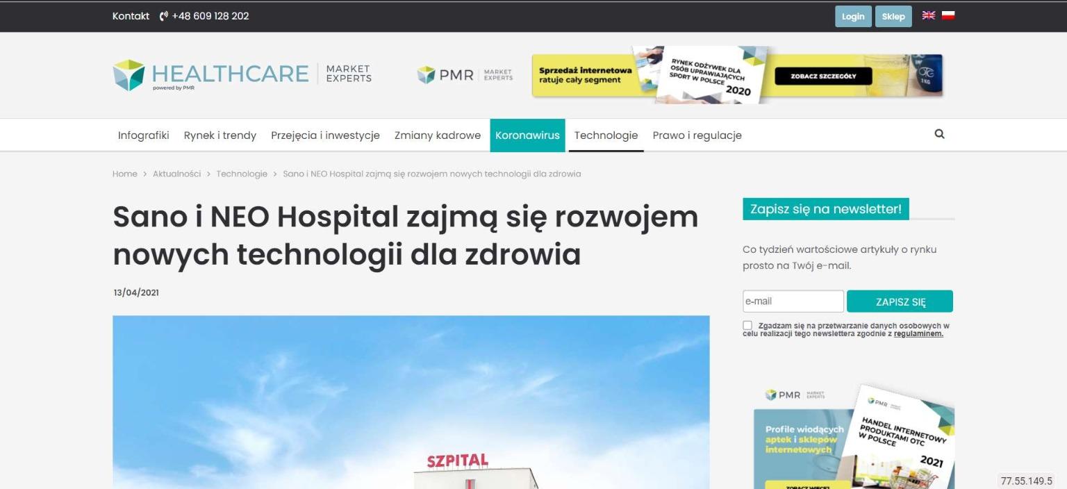 sano i neo hospital zajma sie rozwojem nowych technologii dla zdrowia