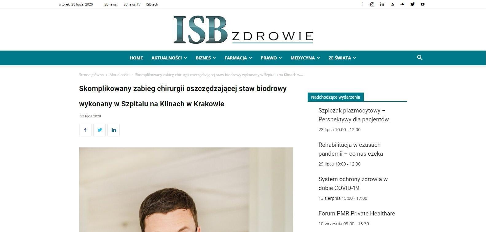 skomplikowany zabieg chirurgii oszczedzajacej staw biodrowy wykonany w szpitalu na klinach w krakowie