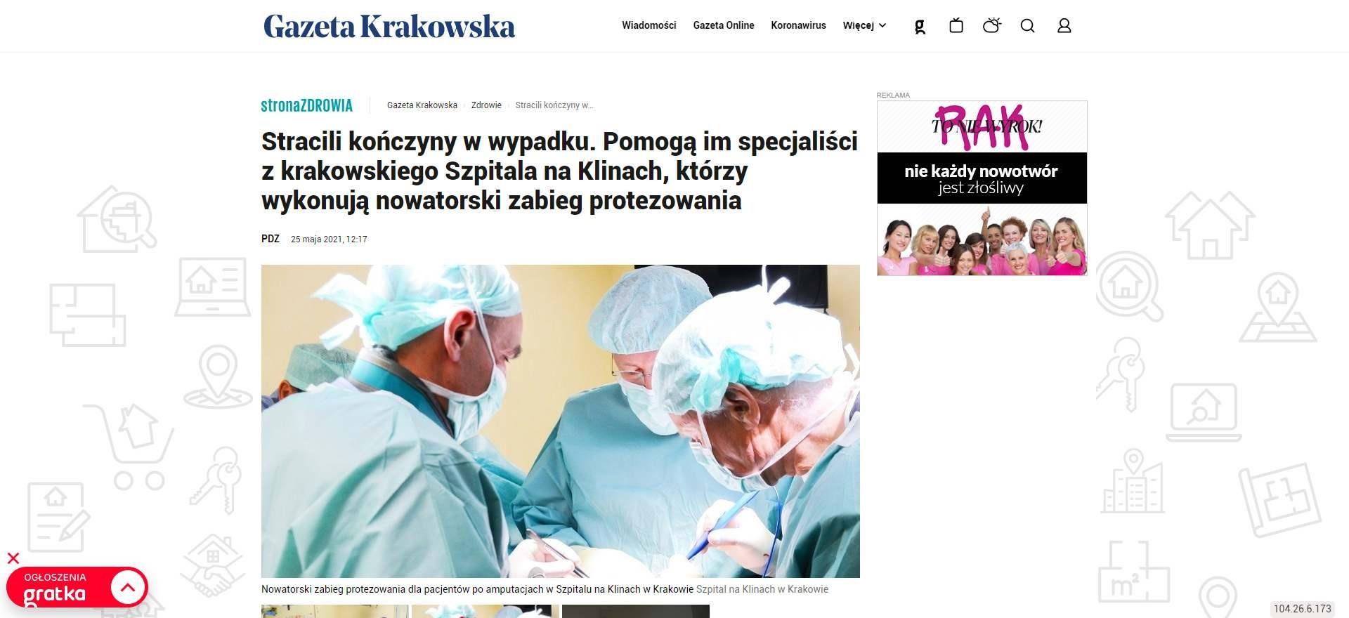 stracili konczyny w wypadku pomoga im specjalisci z krakowskiego szpitala na klinach ktorzy wykonuja nowatorski zabieg protezowania