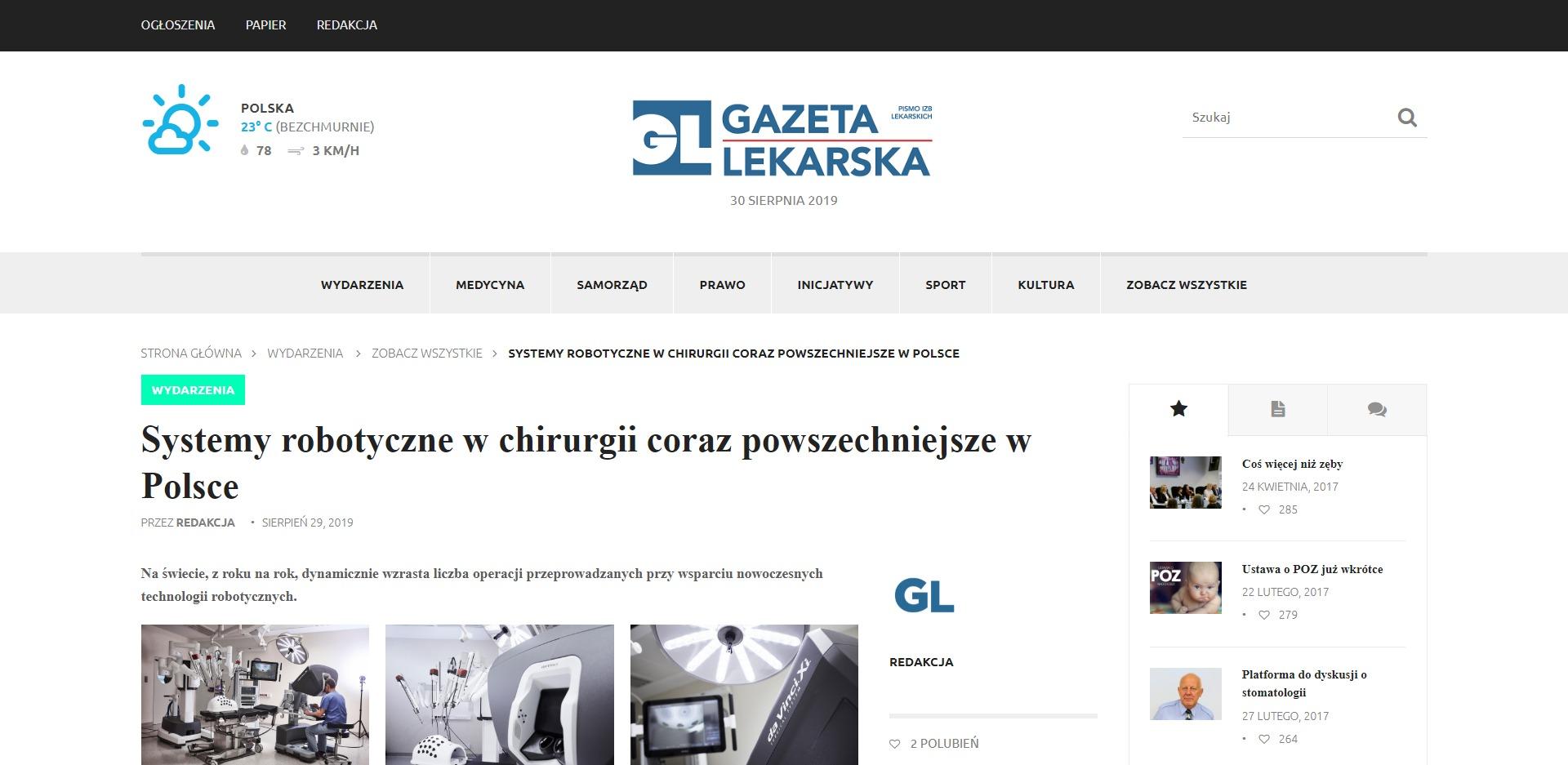 Systemy robotyczne w chirurgii coraz powszechniejsze w Polsce