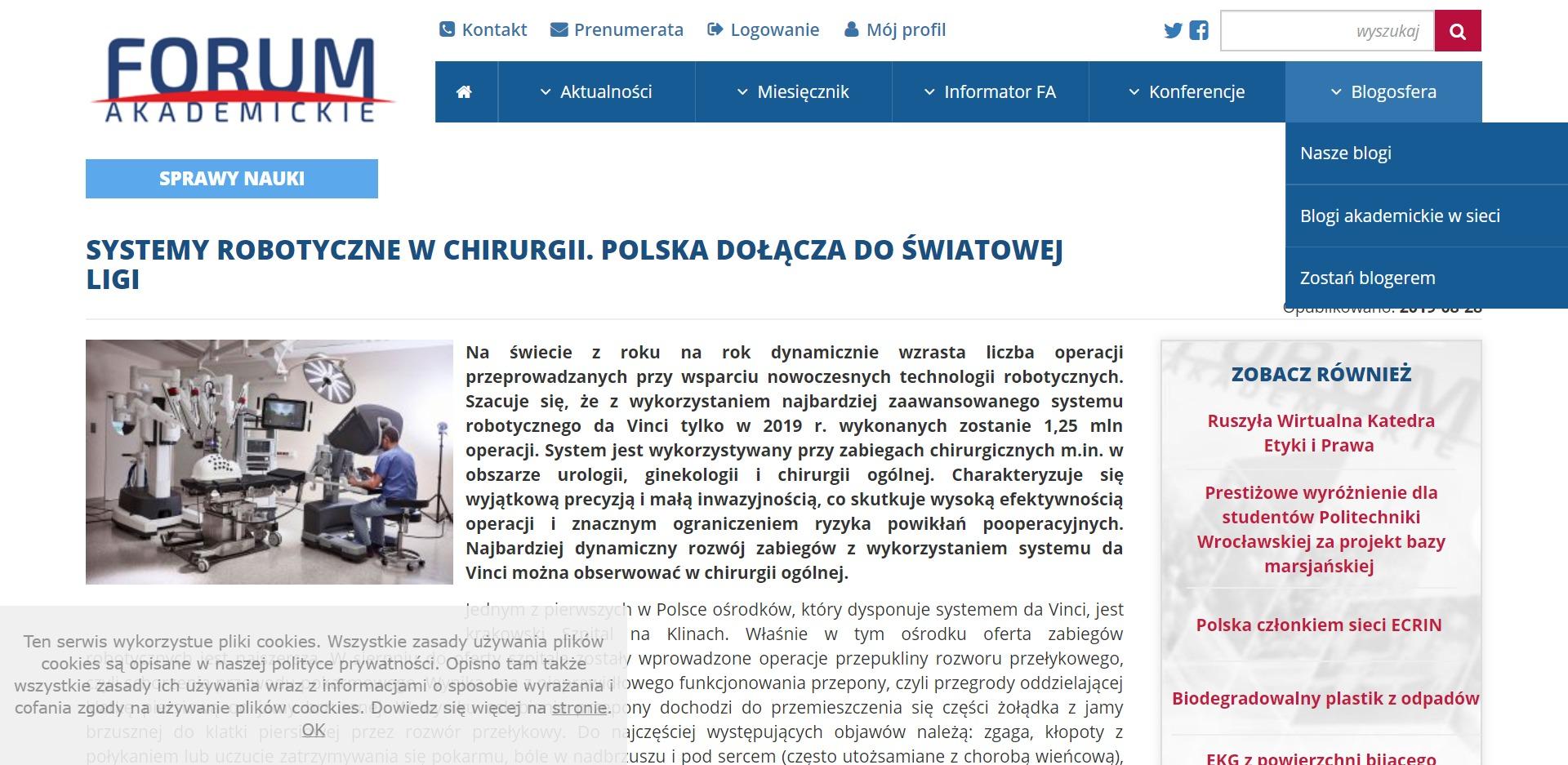 systemy robotyczne w chirurgii. polska dołącza do światowej ligi