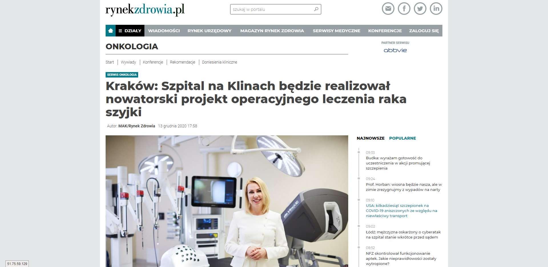 szpital na klinach bedzie realizowal nowatorski projekt operacyjnego leczenia raka szyjki