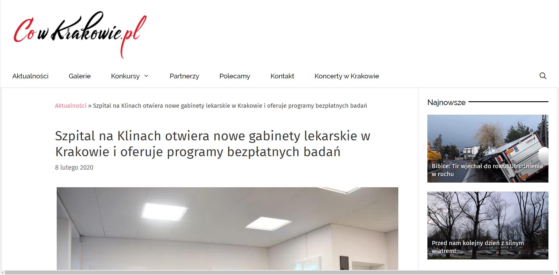 Szpital na Klinach otwiera nowe gabinety lekarskie w Krakowie i oferuje programy bezpłatnych badań