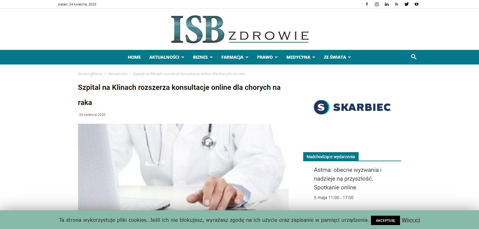 Szpital na Klinach rozszerza konsultacje online dla chorych na raka