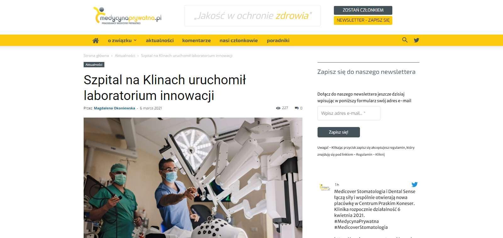 szpital na klinach uruchomil laboratorium innowacji