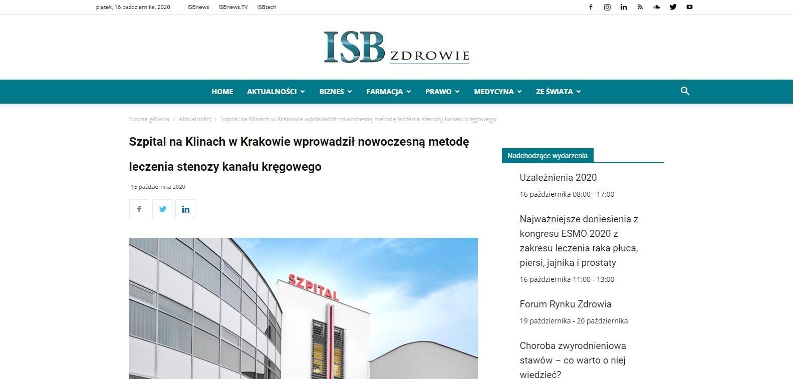 szpital na klinach w krakowie wprowadzil nowoczesna metode leczenia stenozy kanalu kregowego