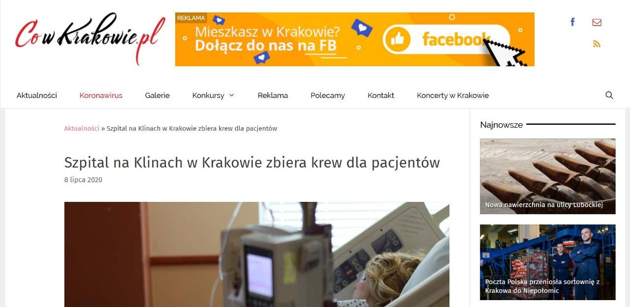 szpital na klinach w krakowie zbiera krew dla pacjentow
