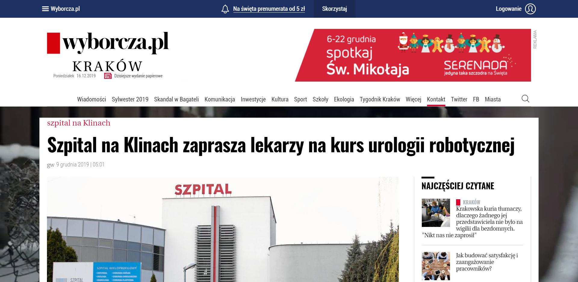 Szpital na Klinach zaprasza lekarzy na kurs urologii robotycznej