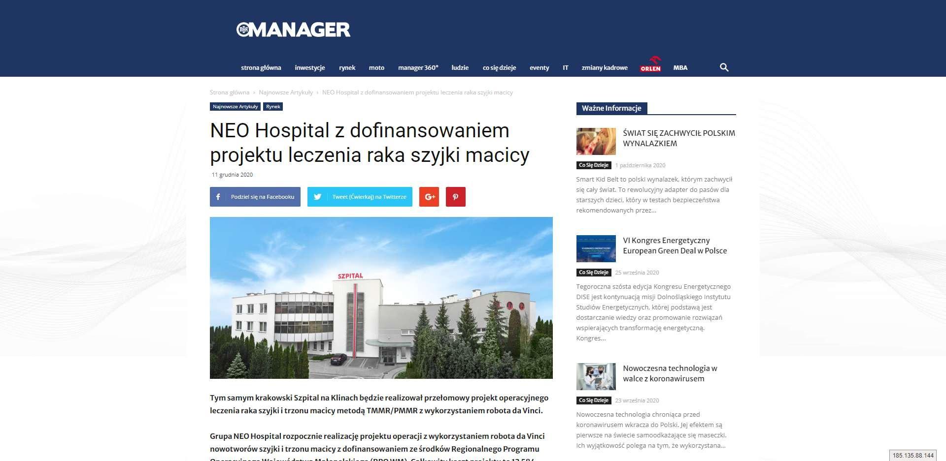 tym samym krakowski szpital na klinach bedzie realizowal przelomowy projekt operacyjnego leczenia raka szyjki i trzonu macicy metoda tmmr pmmr z wykorzystaniem robota da vinci