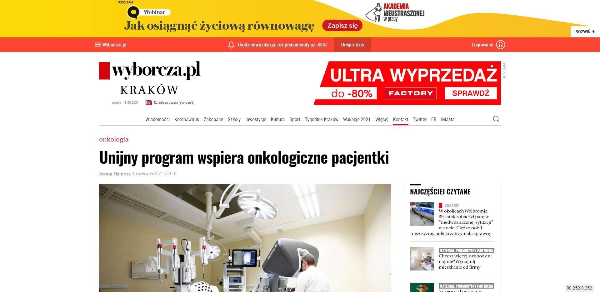 unijny program wspiera onkologiczne pacjentki