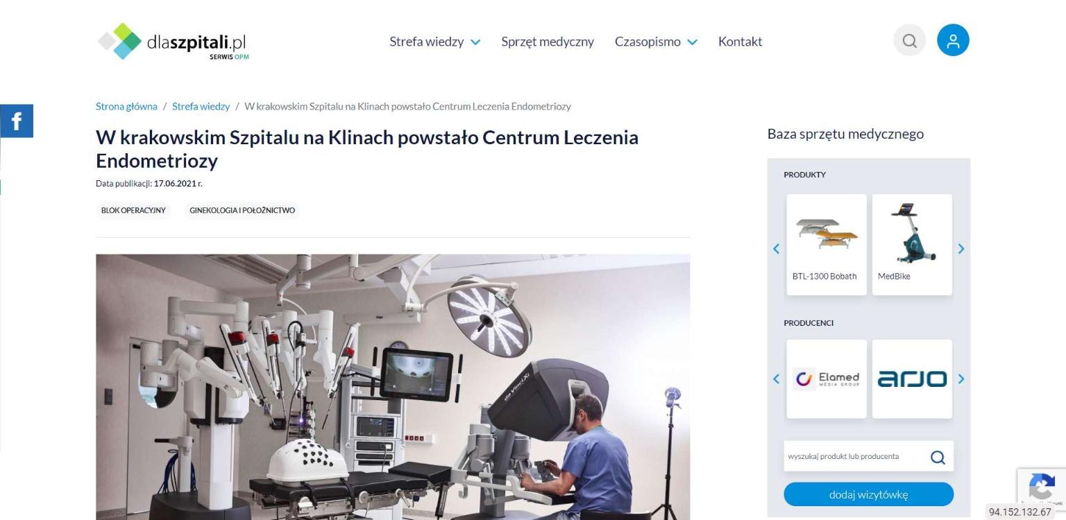 w krakowskim szpitalu na klinach powstalo centrum leczenia endometriozy