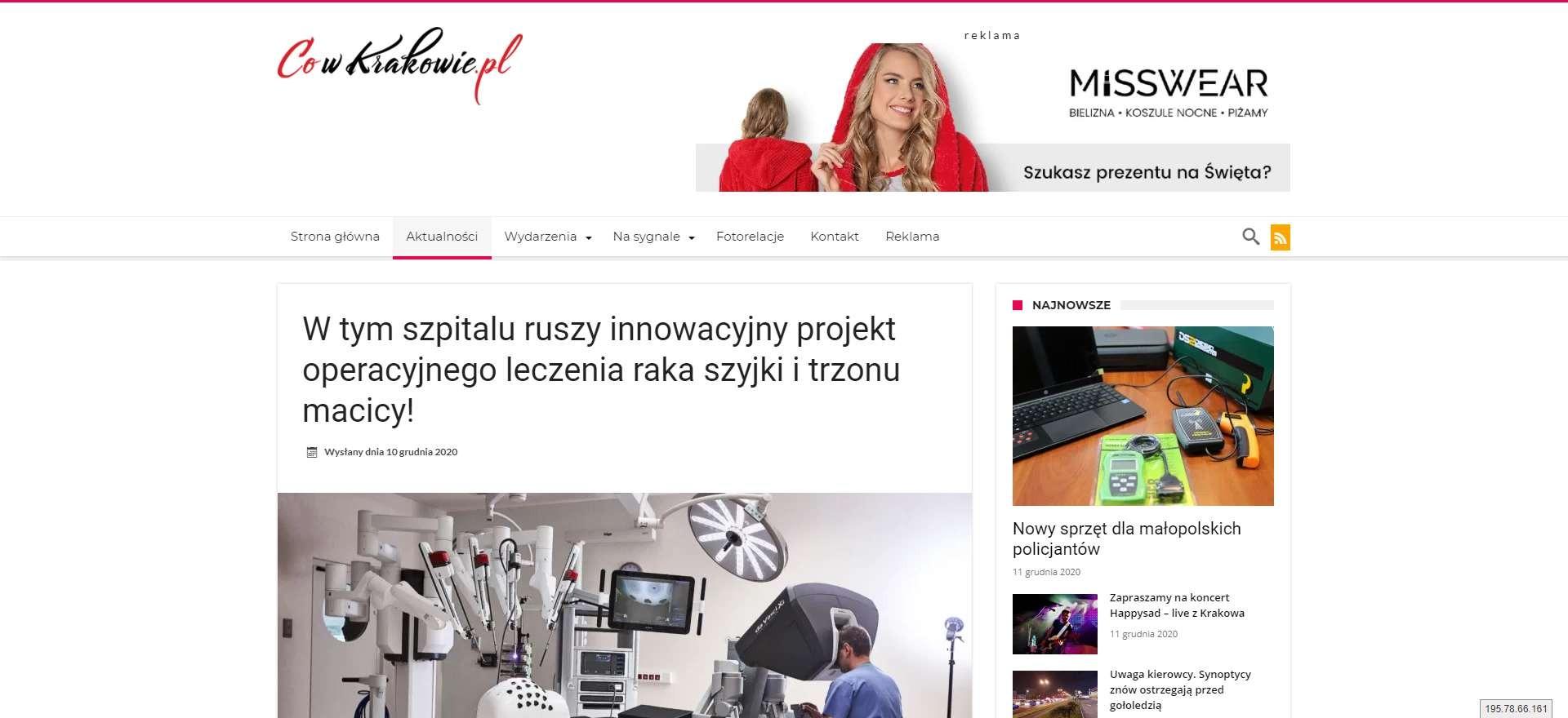 w tym szpitalu ruszy innowacyjny projekt operacyjnego leczenia raka szyjki i trzonu macicy