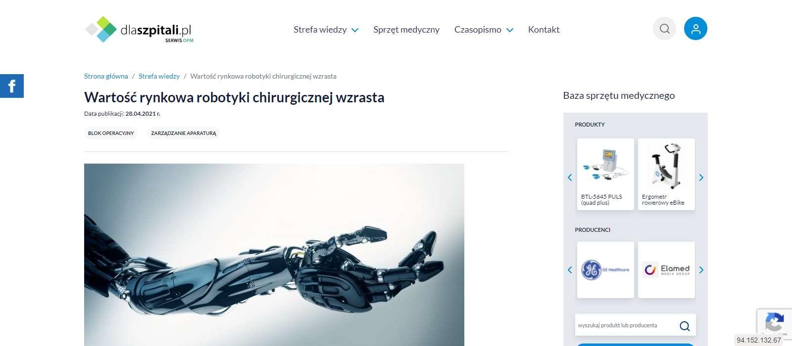 wartosc rynkowa robotyki chirurgicznej wzrasta