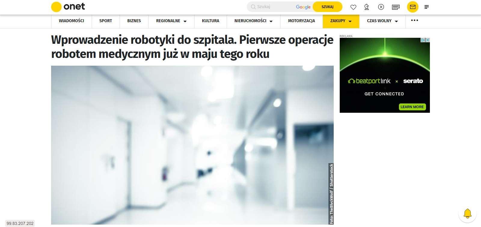 wprowadzenie robotyki do szpitala pierwsze operacje robotem medycznym juz w maju tego roku