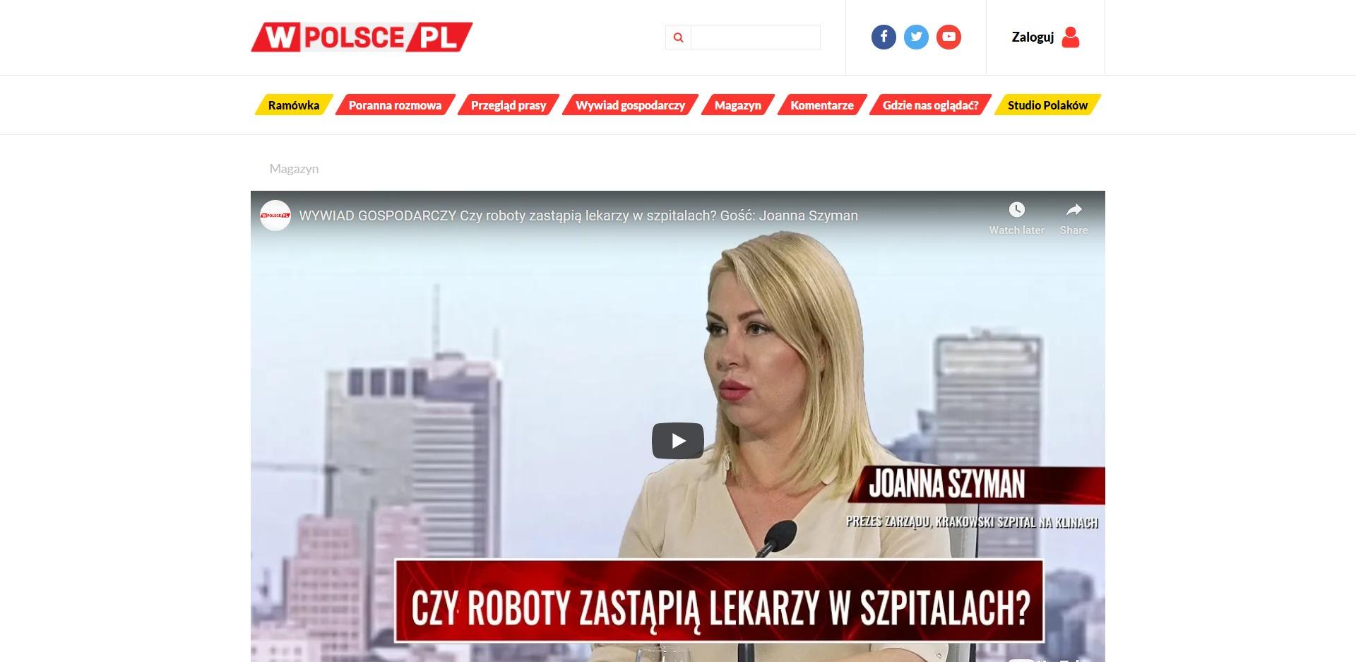 WYWIAD GOSPODARCZY Czy roboty zastąpią lekarzy w szpitalach Gość Joanna Szyman