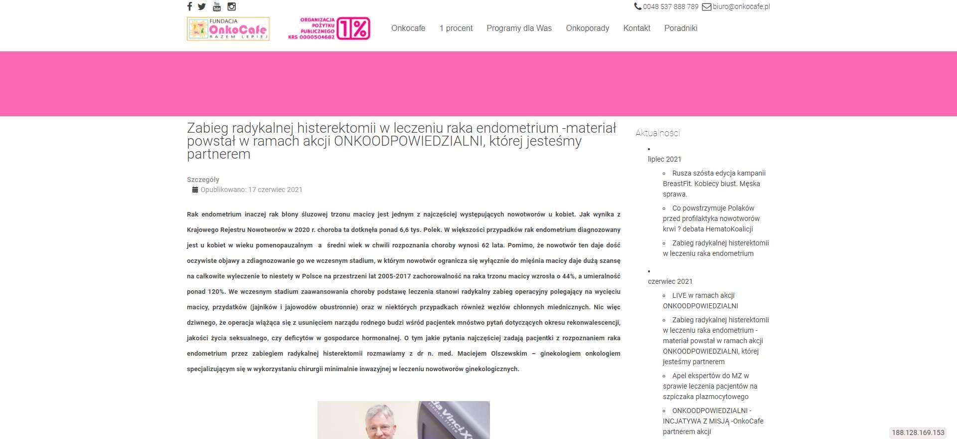 zabieg radykalnej histerektomii w leczeniu raka endometrium material powstal w ramach akcji onkoodpowiedzialni ktorej jestesmy partnerem