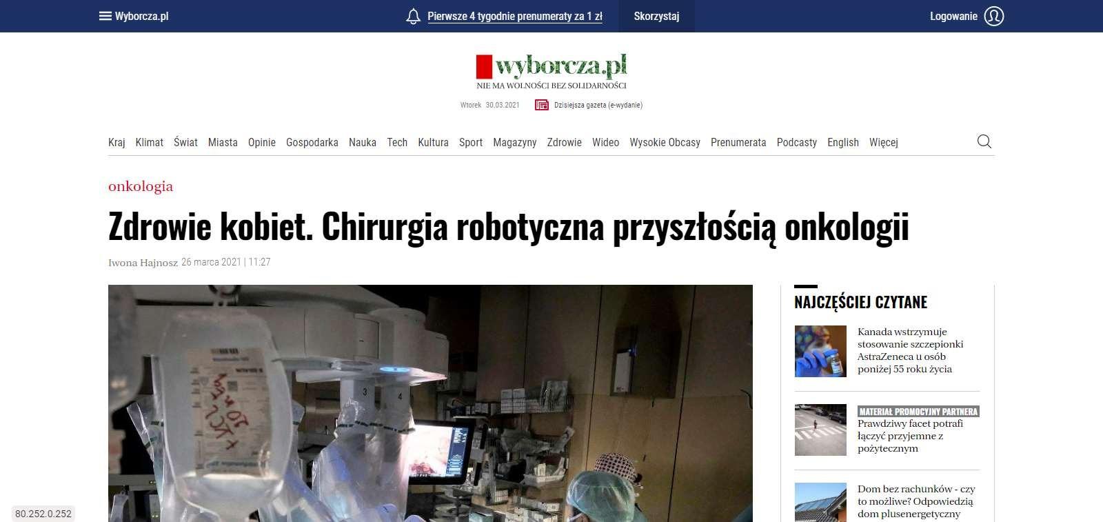 zdrowie kobiet chirurgia robotyczna przyszloscia onkologii